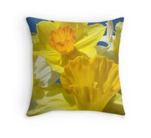 Spring Bright Yellow Daffodil Flowers Photograhy Baslee Troutman Throw Pillow