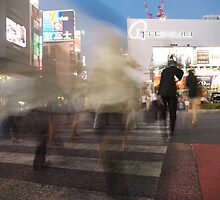 Ghost Walkers at Shibuya Crossing, Tokyo, Japan by Emily Mogic