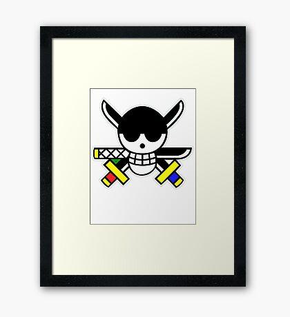 One Piece Roronoa Zoro Logo Anime Cosplay Japan T Shirt  Framed Print