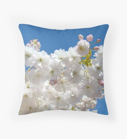 Spring Blue Sky Pastel Pink White Tree Blossoms Baslee Troutman Throw Pillow