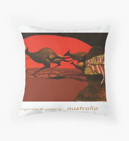 Kangaroos in Passing Throw Pillow