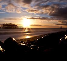 West Pier Into The Sun by Leon Ritchie