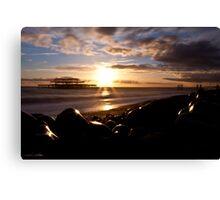 West Pier Into The Sun Canvas Print