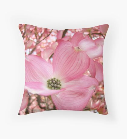 Tree Flowers Pink Dogwood Blossoms Spring Baslee Troutman Throw Pillow