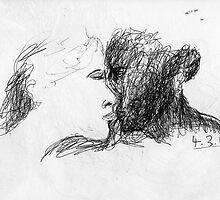 the kiss -(040311)- black biro pen/A4 notepad by paulramnora