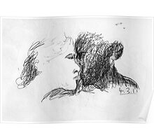 the kiss -(040311)- black biro pen/A4 notepad Poster