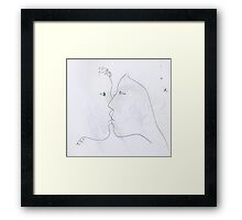 the kiss -(030311)- black biro pen/A4 sketchbook Framed Print