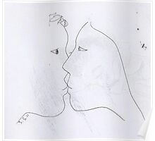 the kiss -(030311)- black biro pen/A4 sketchbook Poster