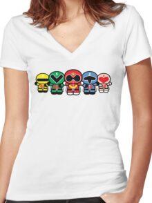 Chibi-Fi Super Sentai Goranger Women's Fitted V-Neck T-Shirt