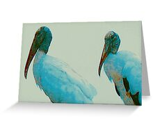 Wood storks on a rooftop Greeting Card