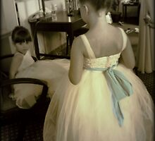 Girls in White Dresses with Blue Satin Sashes by rocperk