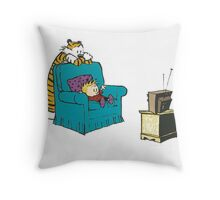 calvin and hobbes wacthing tv Throw Pillow