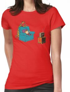 calvin and hobbes wacthing tv Womens Fitted T-Shirt