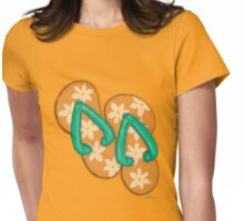 'Tropical Flowers' Flip Flops on a Tee! Womens Fitted T-Shirt