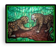 leopard fight Canvas Print