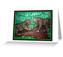 leopard fight Greeting Card