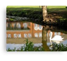 Swan On Bedford Brdfordshire Canvas Print