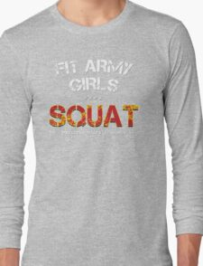 Fit Army Girls Squat Gray/White/Red Long Sleeve T-Shirt