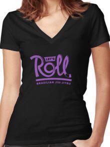 Let's Roll Brazilian Jiu-Jitsu Purple Belt Women's Fitted V-Neck T-Shirt