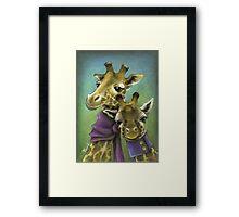 Hipster giraffes Framed Print