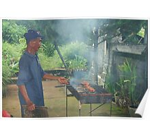 Fish being smoked cooked on BBQ in Bali Poster