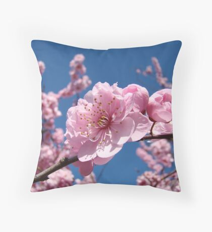 Spring Tree Pink Blossoms Blue Sky art prints Baslee Troutman Throw Pillow