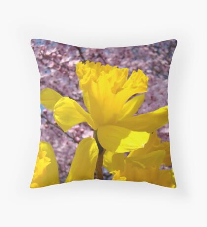 Daffodils Flowers Golden Yellow Pink Tree Blossoms Baslee Troutman Throw Pillow