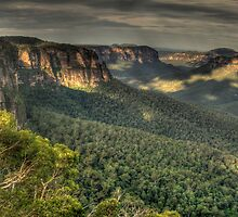 Of Rugged Mountain Ranges - Blue Mountains World Heritage Area , Sydney -The HDR Experience by Philip Johnson