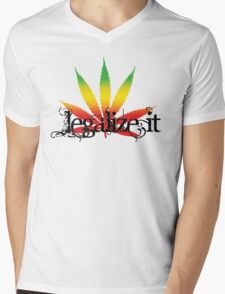 Colorful Legalize It Mens V-Neck T-Shirt