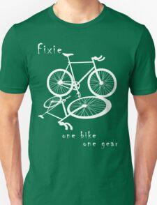 Fixie - one bike one gear (white) T-Shirt