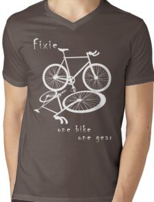 Fixie - one bike one gear (white) Mens V-Neck T-Shirt