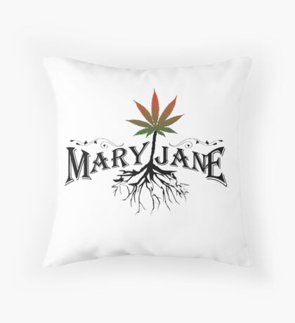 Earthy Mary Jane Roots Throw Pillow