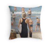 Black Dress amongst Sun Lovers  Throw Pillow