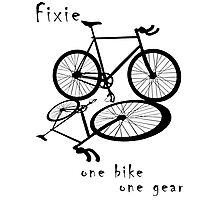 Fixie - one bike one gear (black) Photographic Print