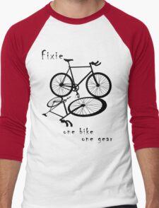 Fixie - one bike one gear (black) Men's Baseball ¾ T-Shirt
