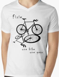 Fixie - one bike one gear (black) Mens V-Neck T-Shirt