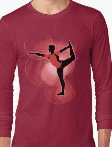 Super Smash Bros. Red Wii Fit Trainer (Male) Silhouette Long Sleeve T-Shirt
