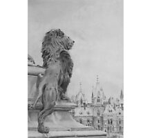 Lion Overlooking Canadian Parliament, Ottawa Photographic Print