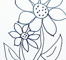 Crazy Daisey sketch, from series,Large and Small by Anna  Lewis, blind artist