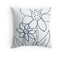 Crazy Daisey sketch, from series,Large and Small Throw Pillow