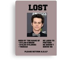 LOST POSTER - DYLAN O'BRIEN Canvas Print
