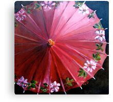 Red  Chinese parasol. 31x31cm acrylic. Canvas Print