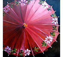 Red  Chinese parasol. 31x31cm acrylic. Photographic Print
