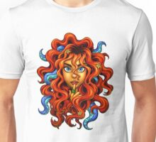 Tentacle Hair Lady- red Unisex T-Shirt