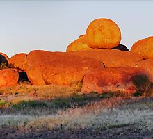 Devil's Marbles at Sunset - Panaroma by Alwyn Simple