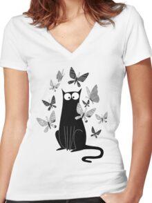 Paper Butterflies  Women's Fitted V-Neck T-Shirt