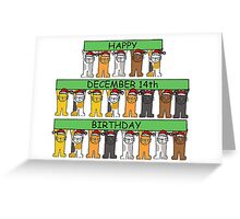 December 14th Birthday with cats. Greeting Card