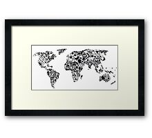 World Map in a mathematician universe Framed Print
