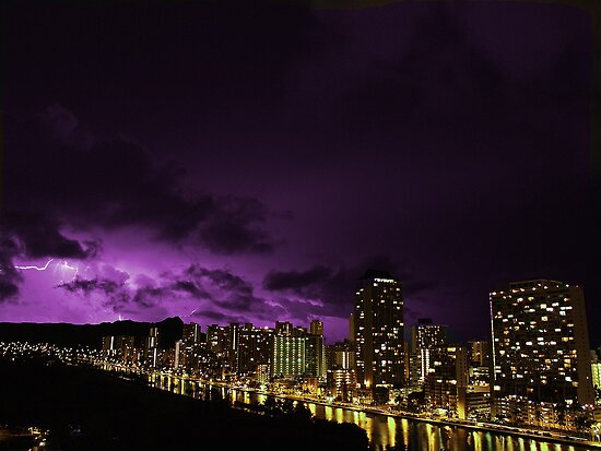 Waikiki on a stormy night. by leoaloha