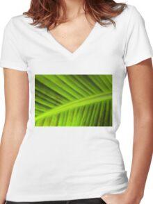 banana leaf Women's Fitted V-Neck T-Shirt